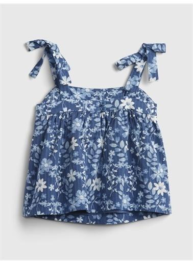 Gap ınce Askılı Çiçek Desenli Elbise Mavi